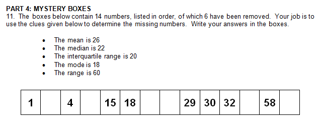 Class Opener – Day 44 – Statistics Clue Boxes | mathcoachblog